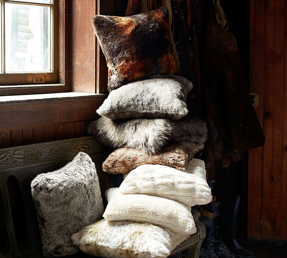 Mongolian Faux Fur Pillow Cover Frost Gray Pottery Barn Ca