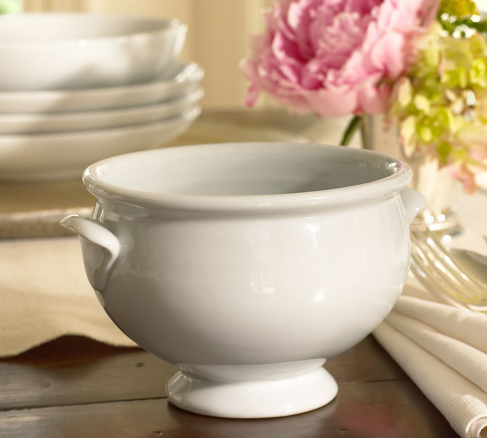 Great White Porcelain Footed Soup Bowl
