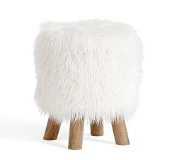 Mongolian Faux Fur Stool