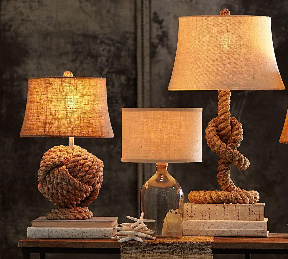 Burlap Upholstered Tapered Lamp Shade, Rolled Edge