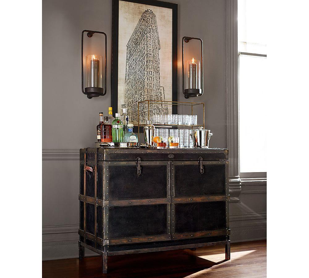 Ludlow Trunk Bar Cabinet Pottery Barn Ca