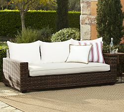 Torrey All-Weather Wicker Square-Arm Sofa - Espresso
