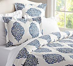 Asher Medallion Organic Percale Duvet Cover & Shams - Gray