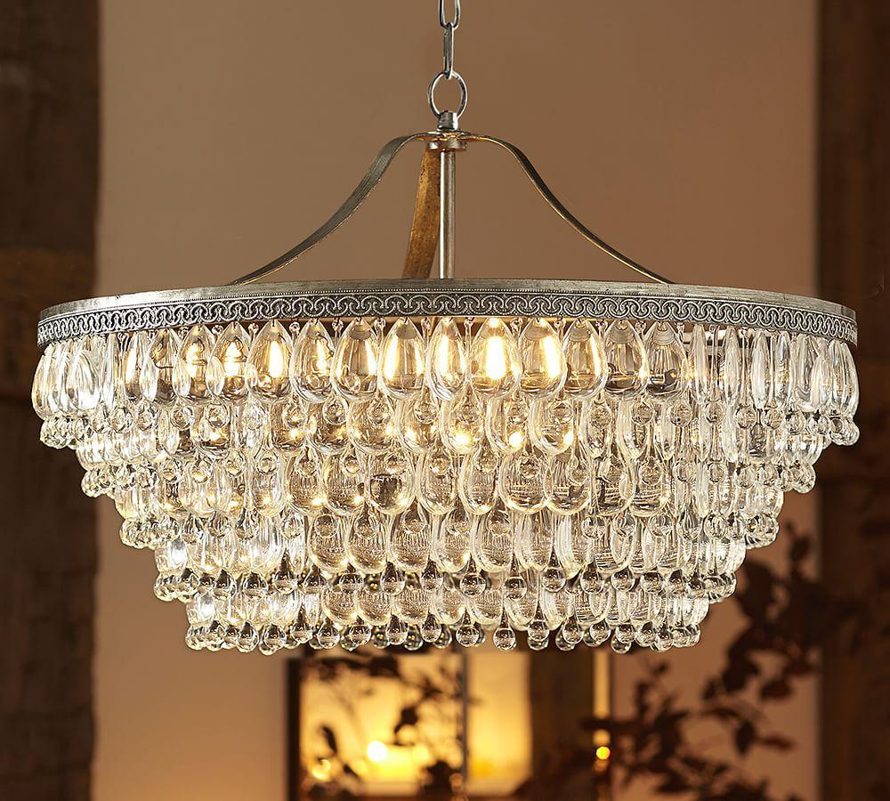 Clarissa Crystal Drop Round Chandelier Pottery Barn Ca