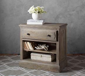 Linden Wood Paneled Bedside Table