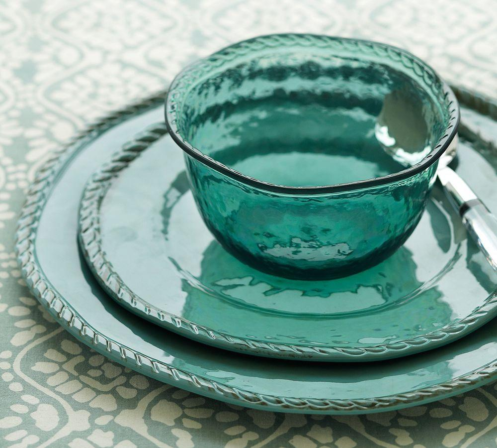 Rope Outdoor Dinnerware, Turquoise