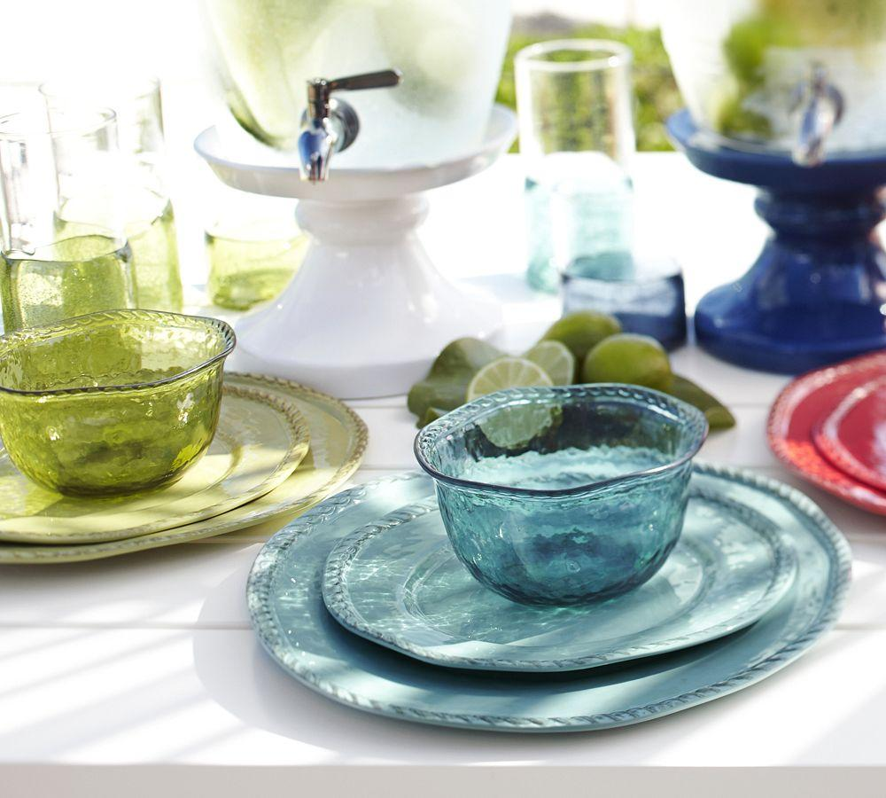 Rope Outdoor Dinnerware Turquoise Pottery Barn Ca