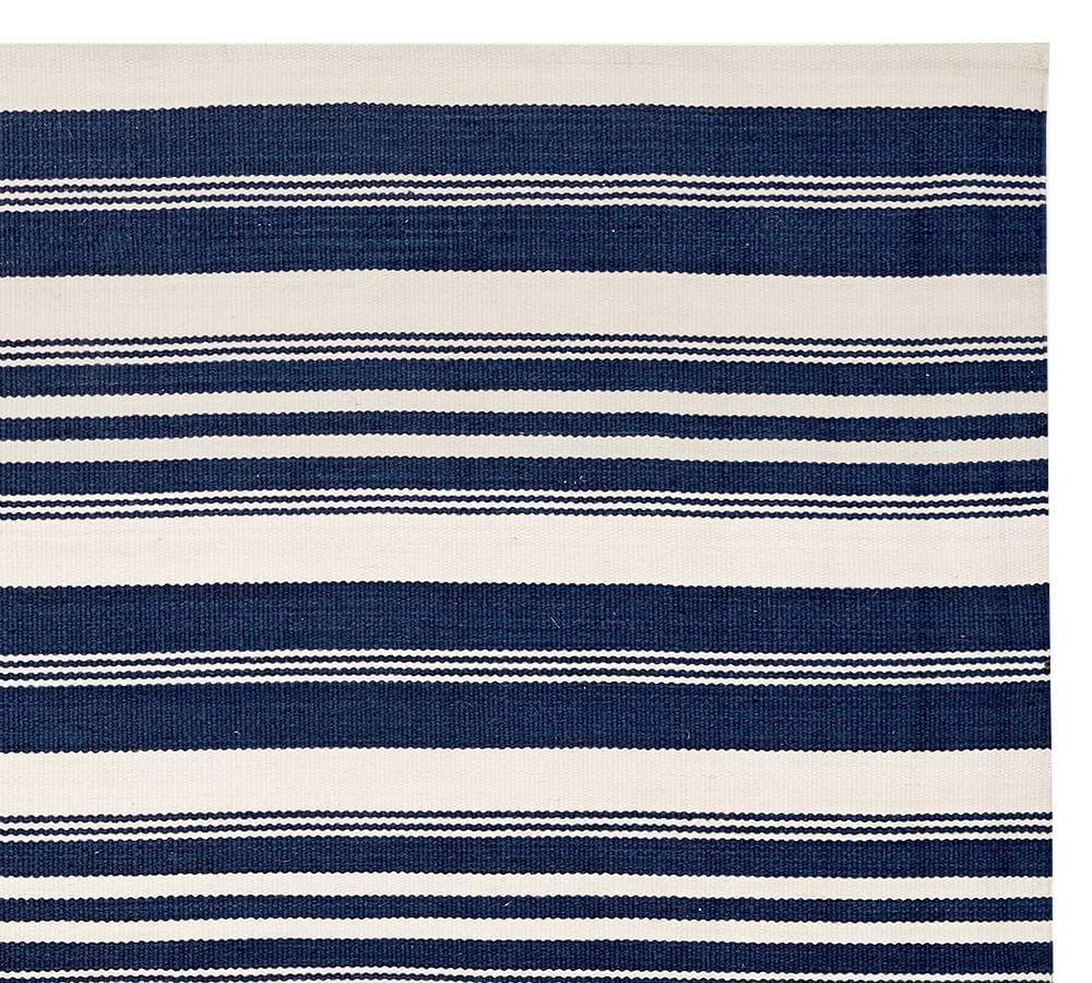 Oxford Stripe Recycled Yarn Indoor Outdoor Rug Blue