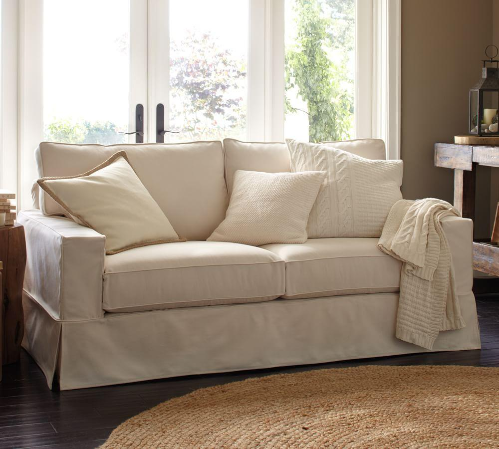 PB Comfort Square Arm Slipcovered Sofa