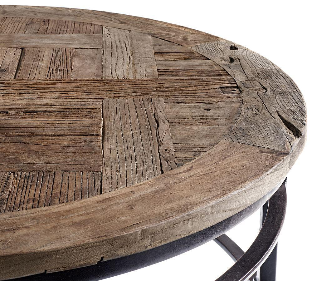 parquet reclaimed wood round coffee table pottery barn ca