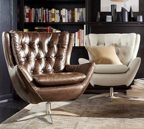 Wells Leather Swivel Armchair