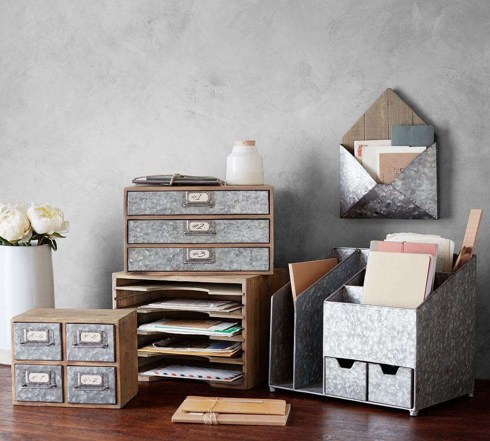 Work In Coziness 20 Farmhouse Home Office Décor Ideas: Brokers Wood & Galvanized Home Office Collection