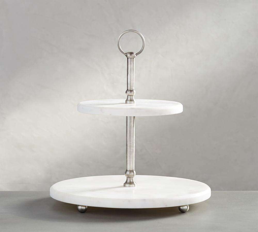 White Marble Pewter Tiered Stand