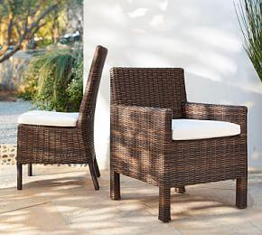 Torrey All-Weather Wicker Square Arm Dining Chair, Espresso