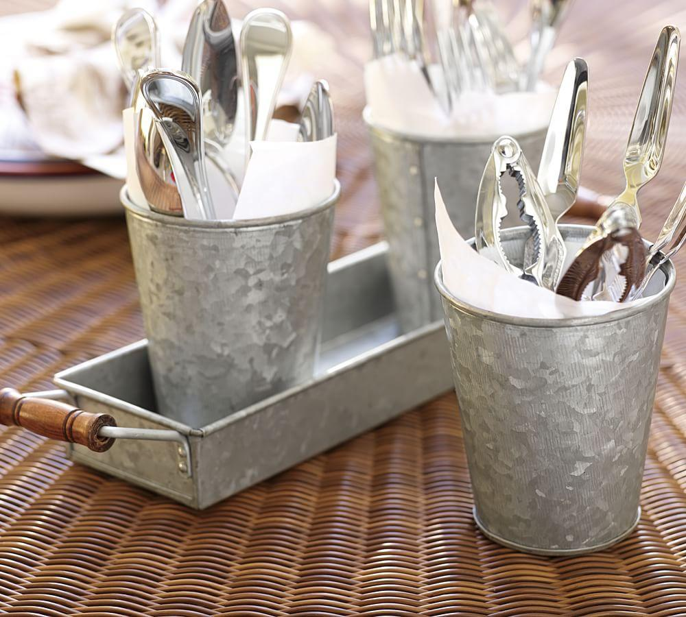 Galvanized Metal Condiment Amp Tray Set Pottery Barn Ca