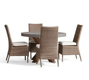 Abbott Brown Round Table with Torrey All-Weather Wicker Side Chair Dining Set, Natural