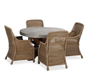 Abbott Round Brown Table & Saybrook Armchair Dining Set