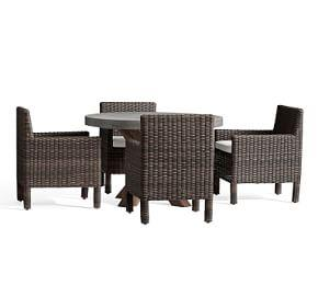 Abbott Round Brown Table  Torrey Square Armchair Dining Set