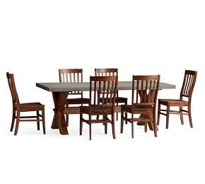 Abbott X-Base Rectangular Table & Benchwright Outdoor Chair Dining Set