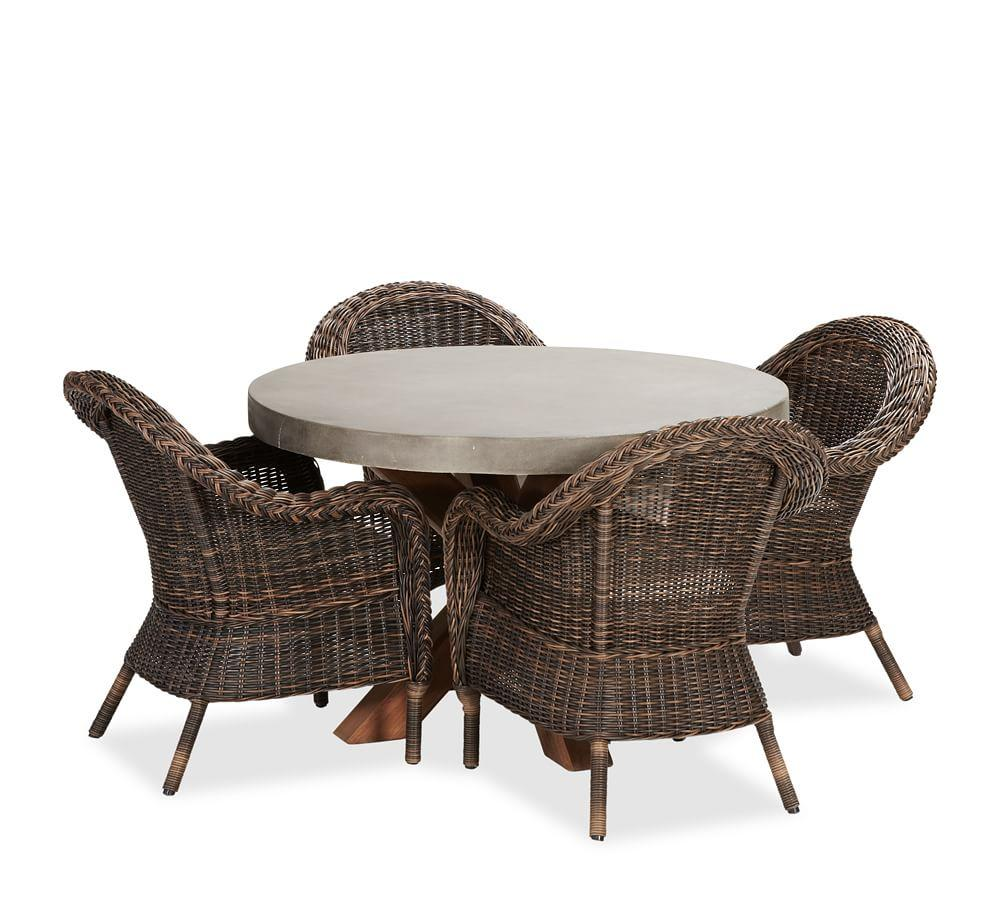 Abbott Round Brown Table with Torrey All-Weather Wicker Armchair Dining Set, Espresso