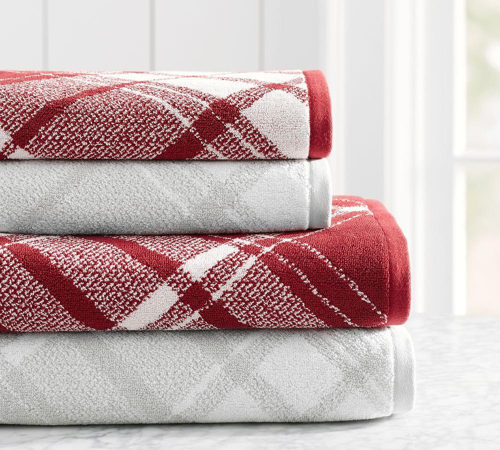 Juno Plaid Jacquard Bath Towels Pottery Barn Ca