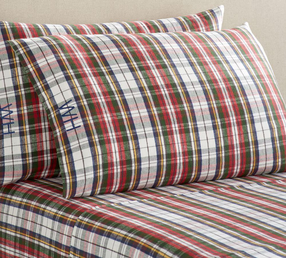 Denver Plaid Organic Flannel Sheet Set Pottery Barn Ca