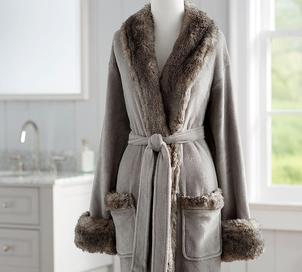 Faux Fur Robe Without Hood Gray Chinchilla Pottery Barn Ca