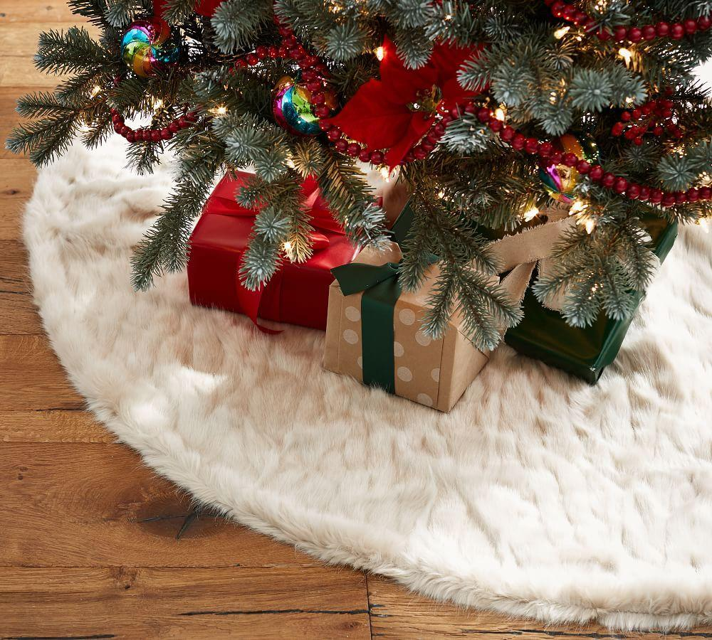 Pottery barn tree skirts - Faux Fur Tree Skirt Greige Mini Ruched Download Image Pottery Barn