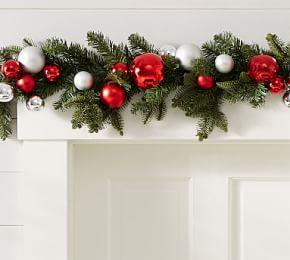 indoor/Outdoor Ornament Pine Garland - Red/Silver