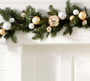 Outdoor Ornament Pine Garland - Gold/Silver