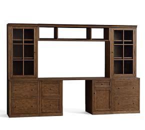 Logan Small  Office Suite with File Cabinet Glass Towers & Bridge
