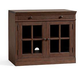 Livingston Double Glass Door Cabinet, Brown Wash