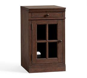 Livingston Single Glass Door Cabinet, Brown Wash