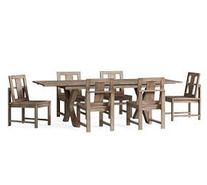 Indio X Base Extending Dining Table 6 Chair Set Gray