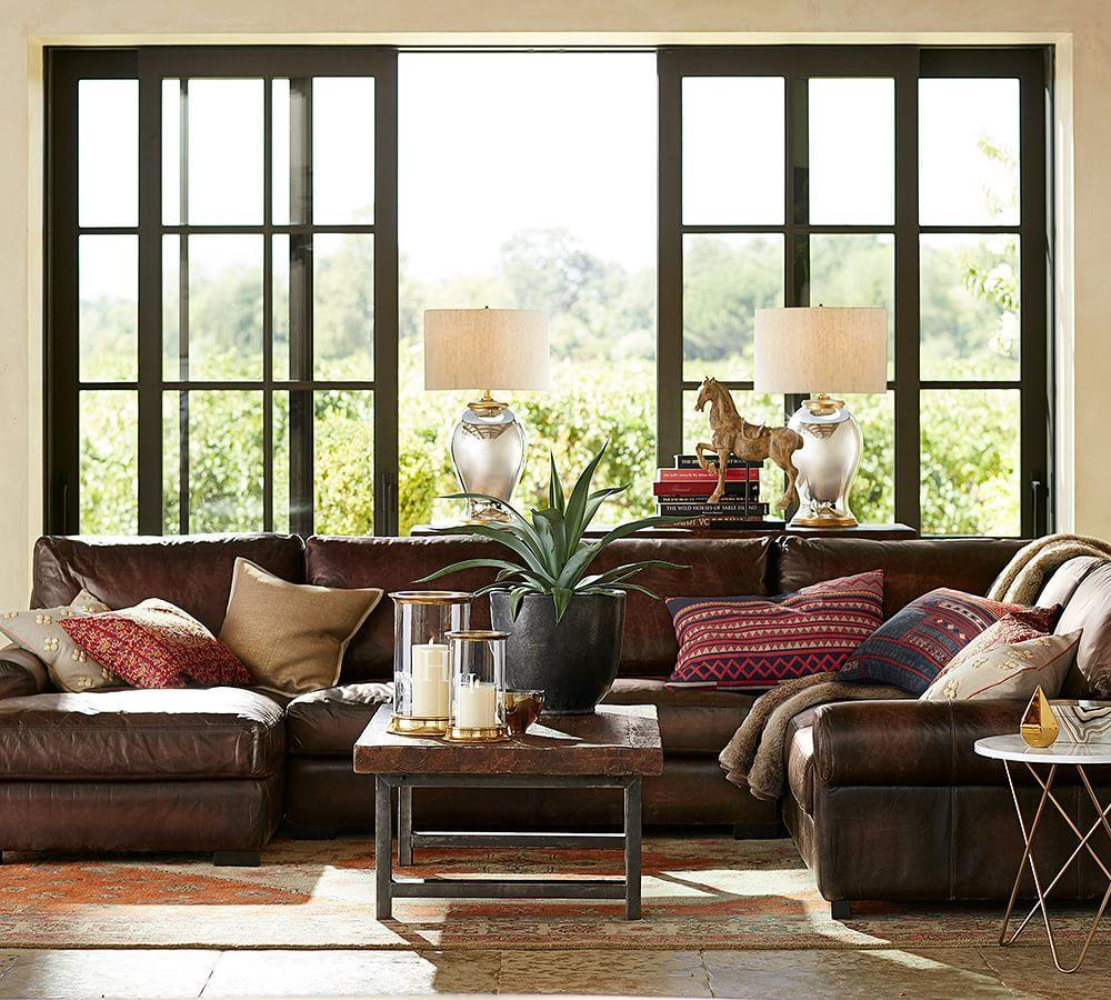 Turner Roll Arm Leather 4-Piece Chaise Sectional