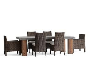 Abbott Chunky Leg Rectangular Dining Table, Brown & Torrey Chair Set - Espresso