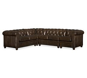 Chesterfield Leather 4-Piece Sectional