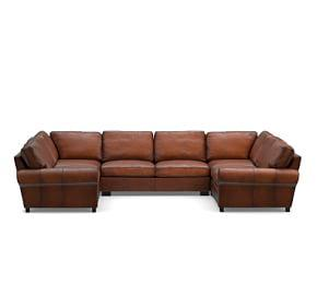 Turner Roll Arm Leather 5-Piece U Shaped Sectional