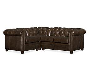 Chesterfield Leather 3-Piece Sectional