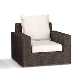 Torrey All-Weather Wicker Square-Arm Swivel Occasional Chair- Espresso