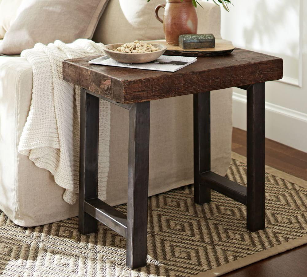 Griffin Reclaimed Wood Side Table Pottery Barn Ca