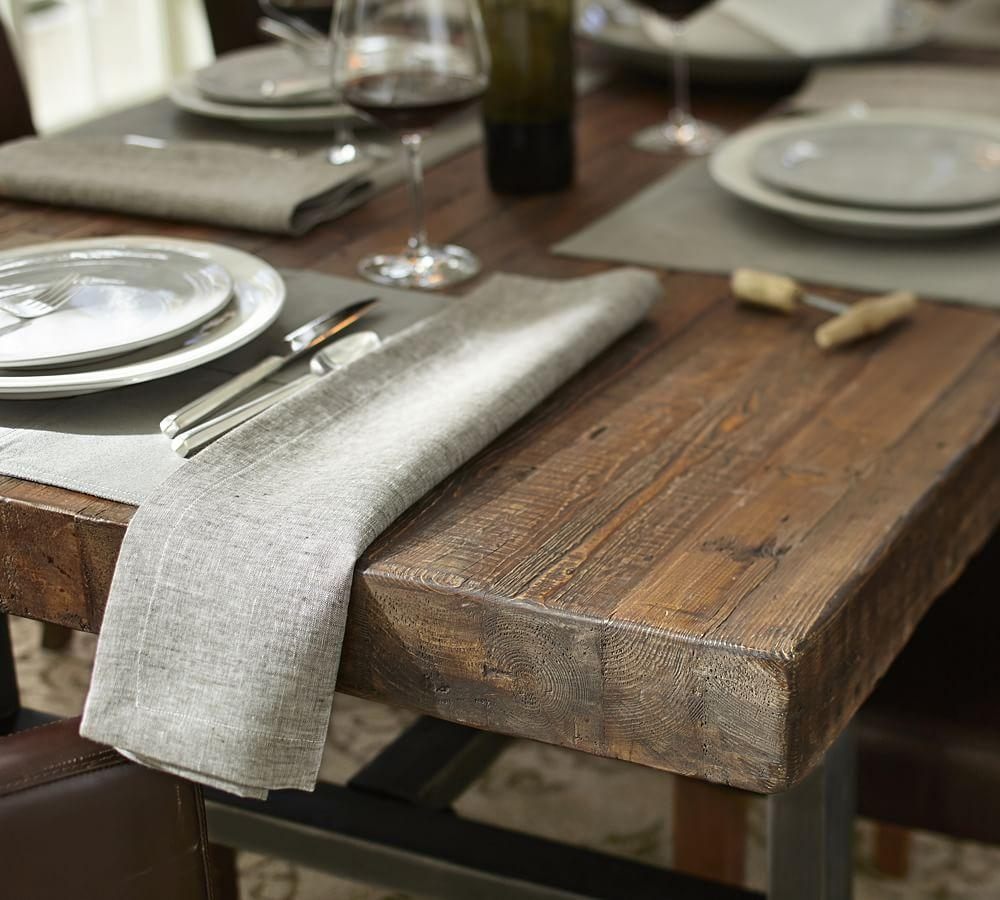 griffin reclaimed wood fixed dining table pottery barn ca. Black Bedroom Furniture Sets. Home Design Ideas