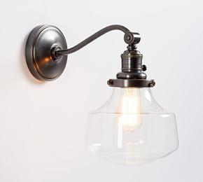 PB Classic Curved Arm Sconce- Schoolhouse Glass