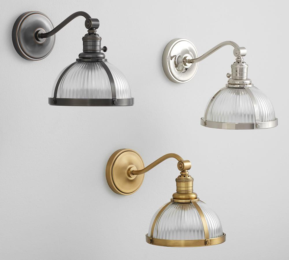PB Classic Curved Arm Sconce - Ribbed Glass