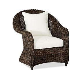 Torrey All-Weather Wicker Roll Arm Occasional Chair, Espresso