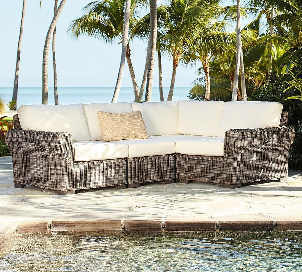 Build Your Own - Huntington All-Weather Wicker Roll Arm Sectional Components