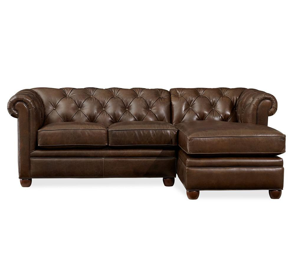Chesterfield Leather Sofa With Chaise Sectional Pottery