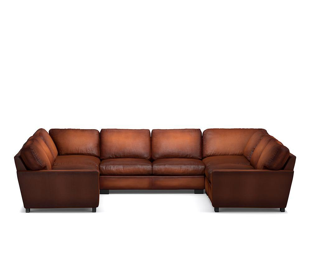 Turner Square Arm Leather 5-Piece U Shaped Sectional
