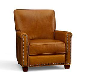 Irving Leather Recliner with Nailheads