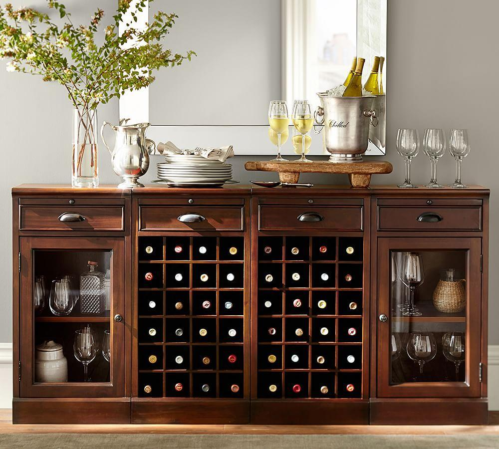 Modular Bar Buffet with 2 Wine Grid Bases & 2 Glass Door Cabinets